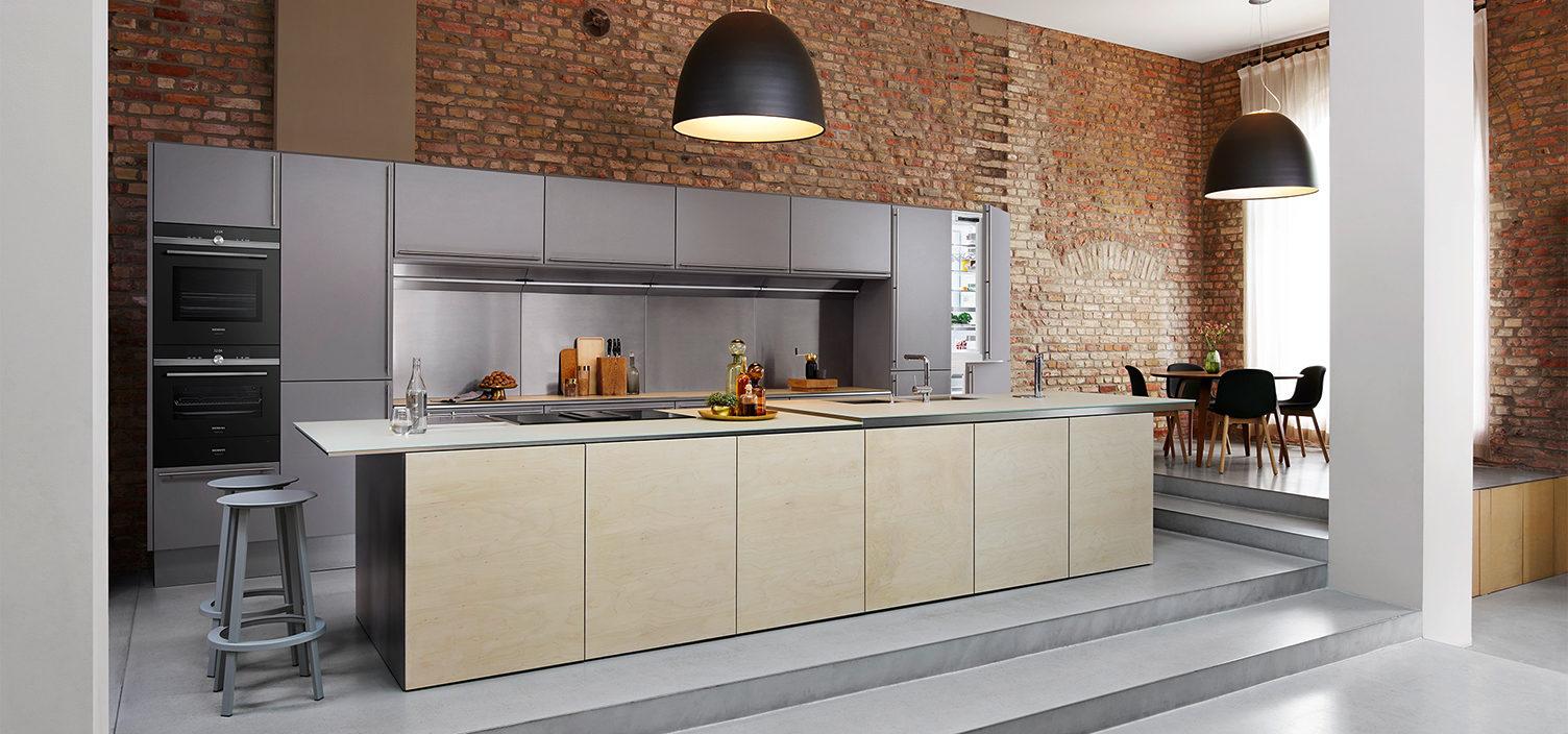 Siemens studioLine Kueche in beige und grau