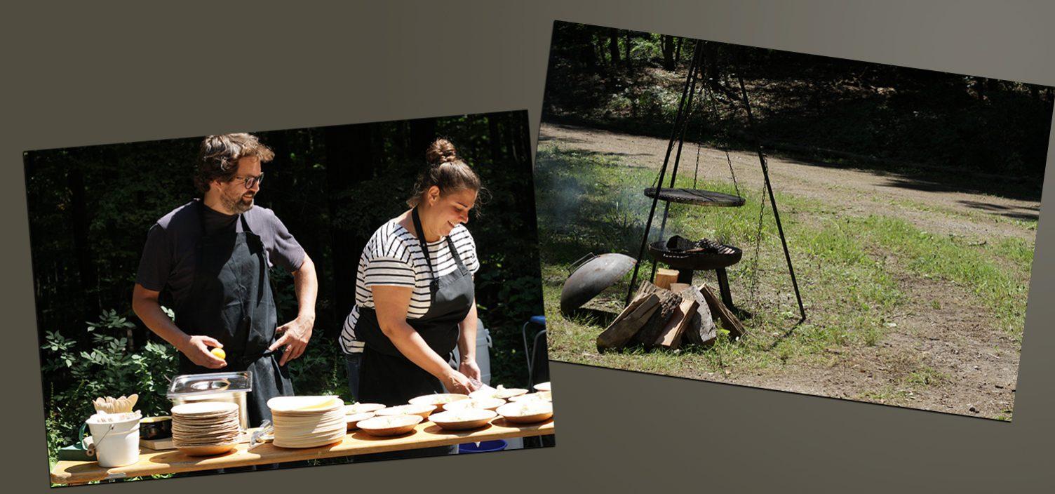 Zwei Aufnahmen: Links Koch-Duo Nora Kreimeyer und Sebastian Lippay, rechts, Kochstelle im Freien.
