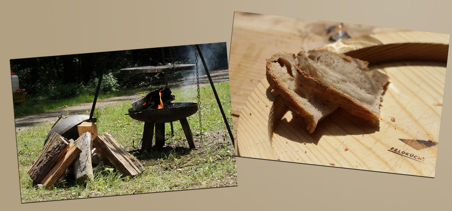 Zwei Aufnahmen: Links zwei Kochstellen im Freien, rechts zwei Scheiben Brot auf einem runden Holzbrett.