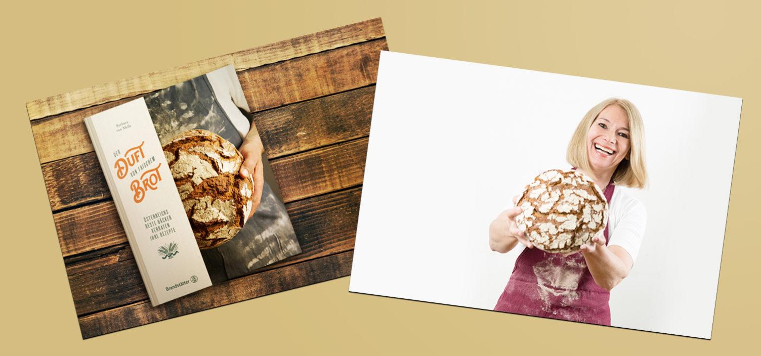 Zwei Aufnahmen. Links: Buch Der Duft von frischem Brot von Barbara van Melle. Rechts: Barbara van Melle lachend mit Laib Brot.